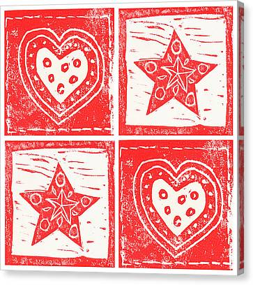 Scandinavian Hearts And Stars Canvas Print