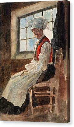 Scandinavian Peasant Woman In An Interior Canvas Print by Alexandre Lunois