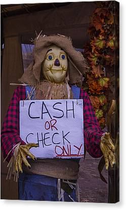 Scarecrow Holding Sign Canvas Print by Garry Gay