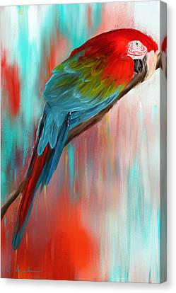 Scarlet- Red And Turquoise Art Canvas Print