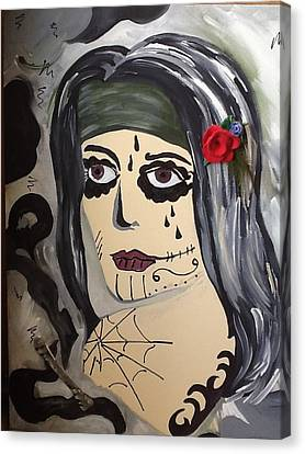 Scary Girl Canvas Print by Karen Carnow
