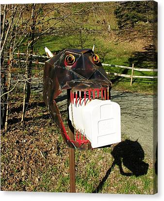 Canvas Print featuring the photograph Scary Mailbox 2 by Sherman Perry
