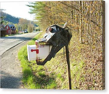 Canvas Print featuring the photograph Scary Mailbox by Sherman Perry