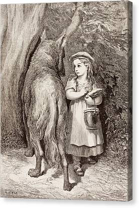 Scene From Little Red Riding Hood Canvas Print by Gustave Dore