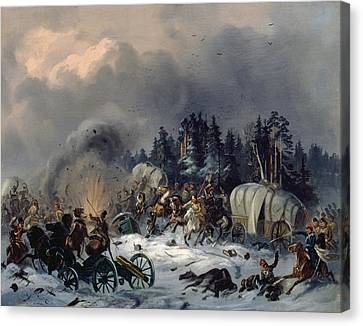 Scene From The Russian-french War In 1812 Oil On Canvas Canvas Print