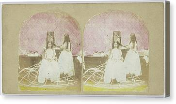 Scene In Boudoir Girl Combs Hair Of Another Girl Canvas Print