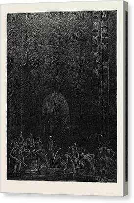 Scene In The Diamond Mines Of Poonah Canvas Print