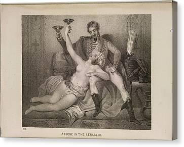 Scene In The Seraglio Canvas Print by British Library
