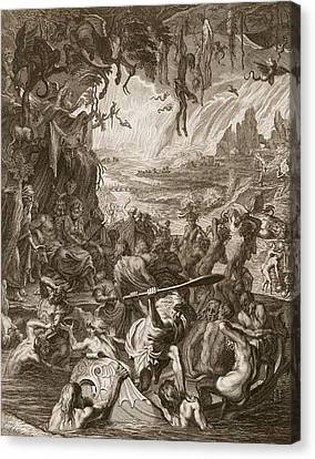 Scene Of Hell, 1731 Canvas Print by Bernard Picart