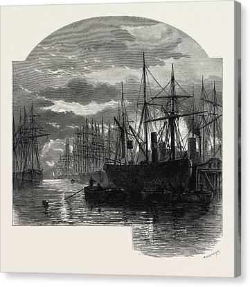 Scenery Of The Thames In The Pool, Colliers Unloading, Uk Canvas Print by English School