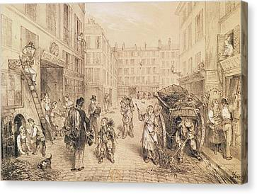 Horse And Cart Canvas Print - Scenes And Morals Of Paris, From Paris Qui Seveille, Printed By Lemercier, Paris Litho by French School