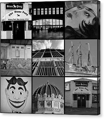 Scenes From Asbury Park New Jersey Collage Black And White Canvas Print by Terry DeLuco