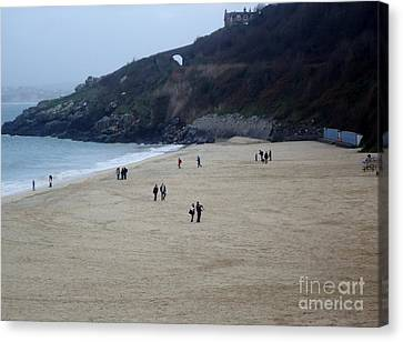 Scenes Of St. Ives Collection - No.1 - A Peaceful Afternoon Stroll On Porthminster Beach Canvas Print by Ava Larsen