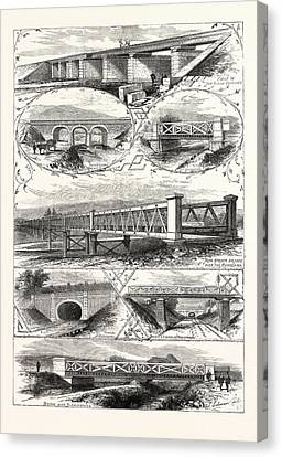 Scenes On The New Railway In Japan Between Osaka And Kobe Canvas Print by Japanese School