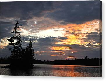 Scenic Island On A Remote Wilderness Lake At Sunset Canvas Print by Mark Herreid