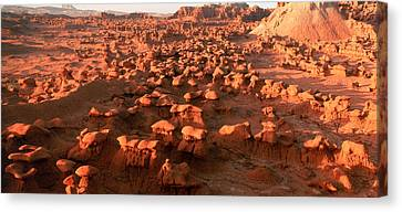Scenic Rock Sculptures At Goblin Valley Canvas Print by Panoramic Images