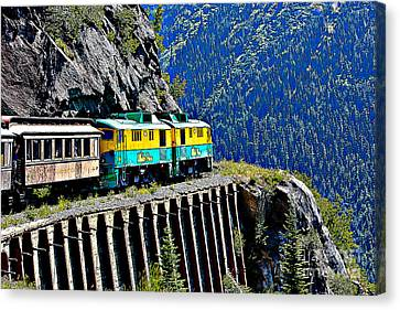 Skagway Canvas Print - Scenic Train Cartoon by Sophie Vigneault