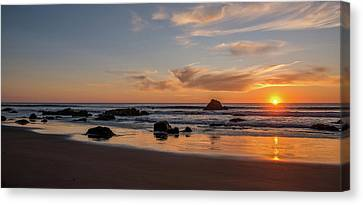 Scenic View Of Beach At Sunset, San Canvas Print