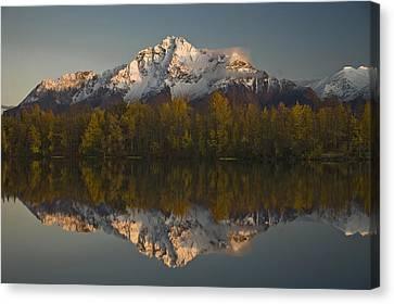 Matanuska Canvas Print - Scenic View Of Pioneer Peak Reflecting by Hal Gage