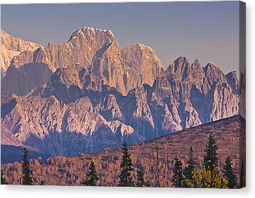 Scenic View Of Sunrise On Mooses Tooth Canvas Print