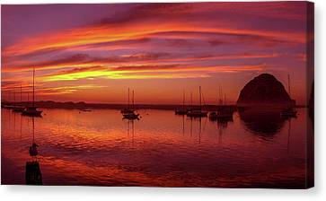 Scenic View Of The Morro Bay At Dusk Canvas Print