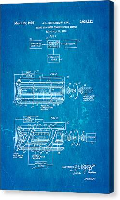 Schawlow Laser Patent Art 1960 Blueprint Canvas Print by Ian Monk