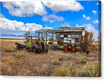 Schellbourne Station And Vintage Truck Canvas Print by Robert Bales