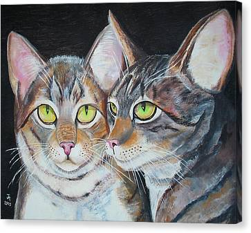 Canvas Print featuring the painting Scheming Cats by Thomas J Herring