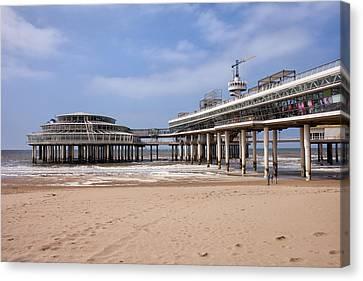 Scheveningen Beach And Pier In Hague Canvas Print by Artur Bogacki