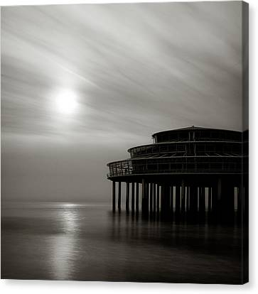 Pier Sunset Canvas Print by Dave Bowman