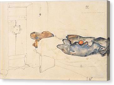 Schiele's Drawing Of His Prison Cell In Neulengbach Canvas Print by Celestial Images