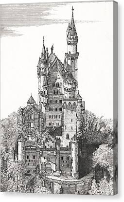 Gatepost Canvas Print - Schloss Neuschwanstein  by John Simlett