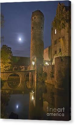 Schloss Sommersdorf By Moonlight Canvas Print