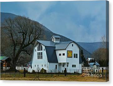 Schnase Farm Quilt Barn Canvas Print by Lisa  Telquist