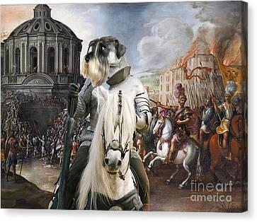 Schnauzer Art - A Siege The Sack Of Rome   Canvas Print by Sandra Sij