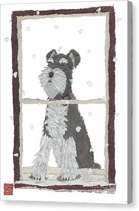 Schnauzer Art Hand-torn Newspaper Collage Art Canvas Print by Keiko Suzuki Bless Hue