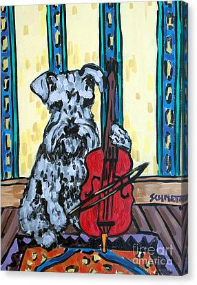 Schnauzer Playing Cello Canvas Print by Jay  Schmetz