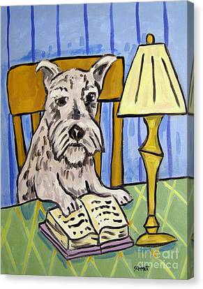 Schnauzer Reading A Book Canvas Print by Jay  Schmetz