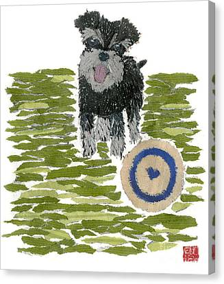 Schnauzer Art Hand-torn Newspaper Collage Art Dog Portrait Canvas Print by Keiko Suzuki Bless Hue