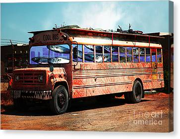 Canvas Print featuring the photograph School Bus 5d24927 by Wingsdomain Art and Photography
