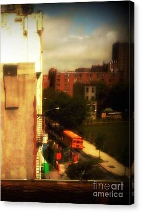 Canvas Print featuring the photograph School Bus - New York City Street Scene by Miriam Danar