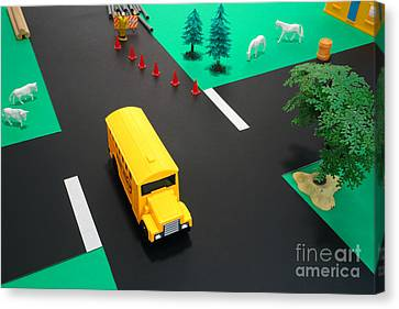 School Bus School Canvas Print by Olivier Le Queinec