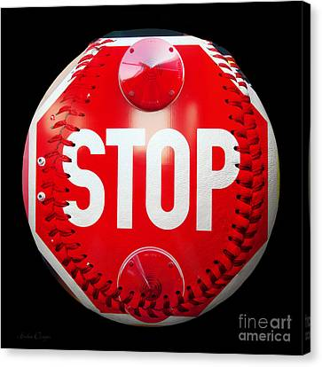 School Bus Stop Sign Baseball Square Canvas Print by Andee Design