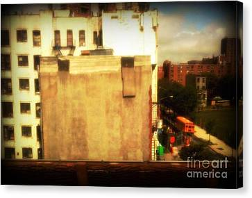 Canvas Print featuring the photograph School Bus With White Building by Miriam Danar