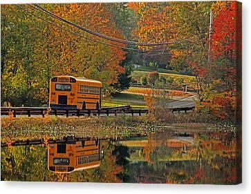 School Days Of Autumn Canvas Print by Karol Livote