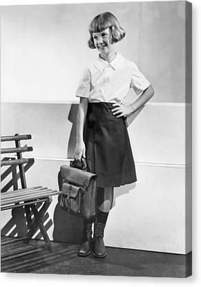 School Fashion Girl Canvas Print