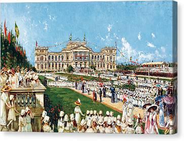 School Festival At Ipiranga Canvas Print by Agustin Salinas y Teruel