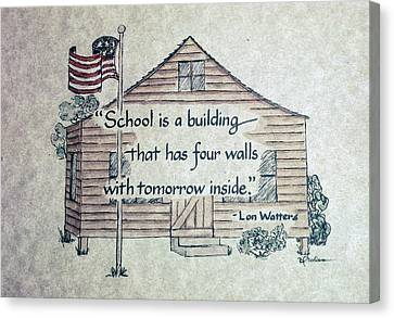 School Is A Building Canvas Print by Barbara  Rhodes
