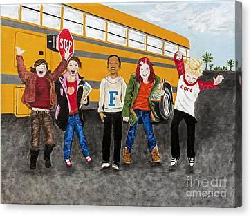 School Bus Canvas Print - School Is Out By Barbara Heinrichs by Sheldon Kralstein