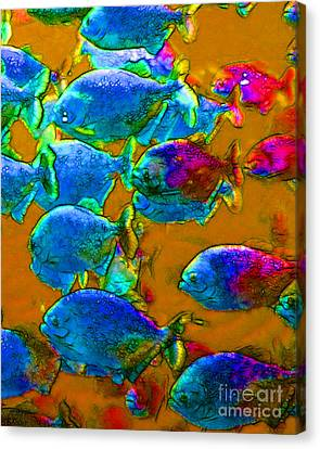 School Of Piranha V1 Canvas Print by Wingsdomain Art and Photography